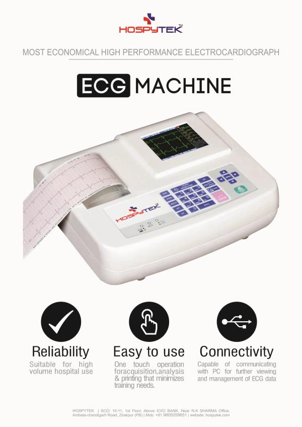 HOSPYTEK is leading manufacturer of Tele ECG, ECG machines in India, We have complete range of EKG machines which include single channel ECG, 3 channel ECG & 12 channel ECG machine. Our portable ECG machines have some of the unique features - by Hospytek, Mohali