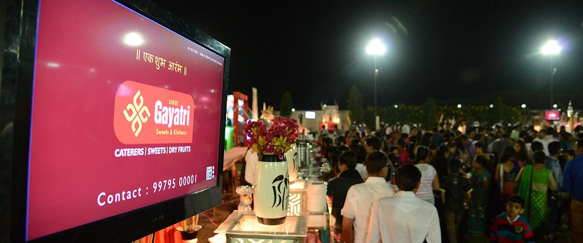 Be it Social or corporate event, Gayatri manages it all. Decoration, management and Food services for Private Parties, Birthday Parties, Corporate Parties, Anniversaries, Product Launches, Stage Shows, Forums, Entertainment, Gala dinners, P - by Shree Gayatri Sweets and Kitchens, Rajkot