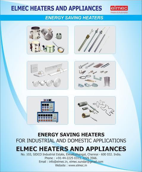 www.elmec.in  ELMEC HEATERS , CHENNAI , INDIA offers ,   BEST QUALITY AIR HEATERS IN CHENNAI , INDIA  BEST QUALITY CHEMICAL HEATERS IN CHENNAI , INDIA  BEST QUALITY MICA & CERAMIC BAND HEATERS IN CHENNAI, INDIA  BEST QUALITY HOT RUNNER NOZZ - by Elmec Heaters and automation -  928 222 7071, Chennai