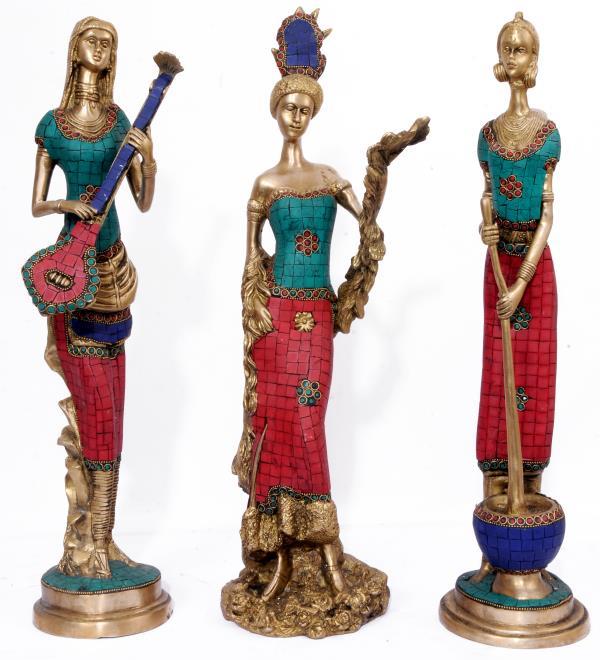 Brass made African Tribal Women Playing Instruments - by PRASIDDH ENTERPRISES, Bangalore