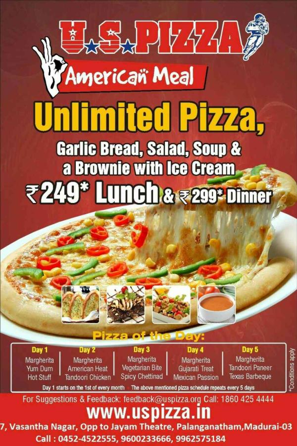 best pizza shop in bypass road - by U S PIZZA, Madurai