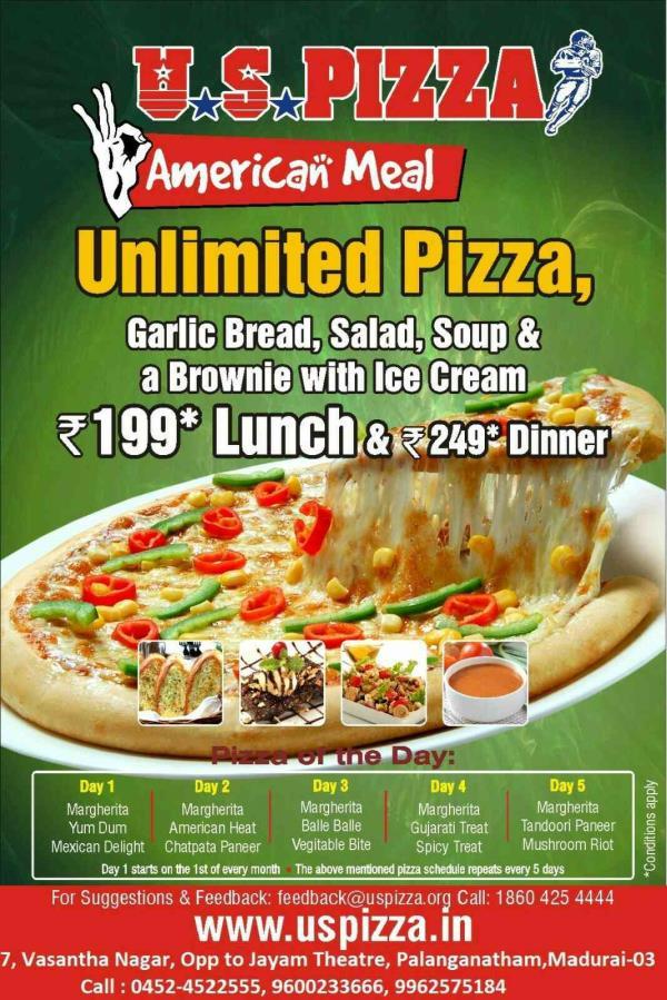 Fast Food Restaurant in Madurai - by U S PIZZA, Madurai