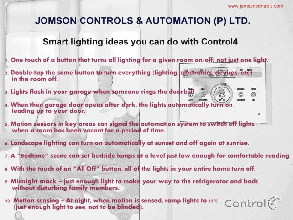 Smart Lighting ideas that easy your life... - by Jomson Controls & Automation (P)Ltd, Ernakulam