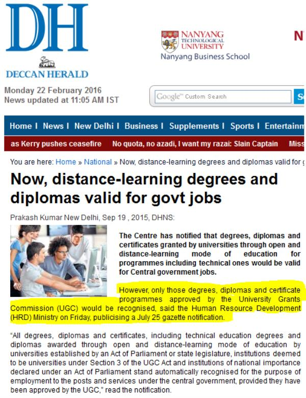 Wow!!!Now That's good news, You are eligible for Govt Jobs with Distance or Correspondence Education.!!! - by S A Correspondence College, Bangalore