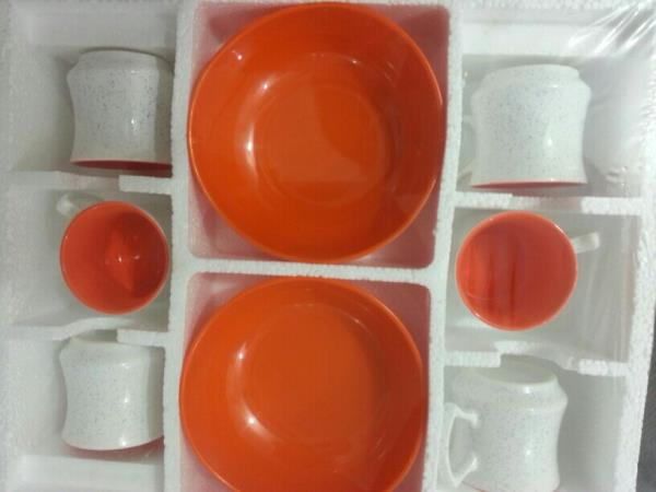 snacks sets r s colour 8pcs  6 colour mugs with 2 quality melamine bowls - by R K Decorators, Khurj
