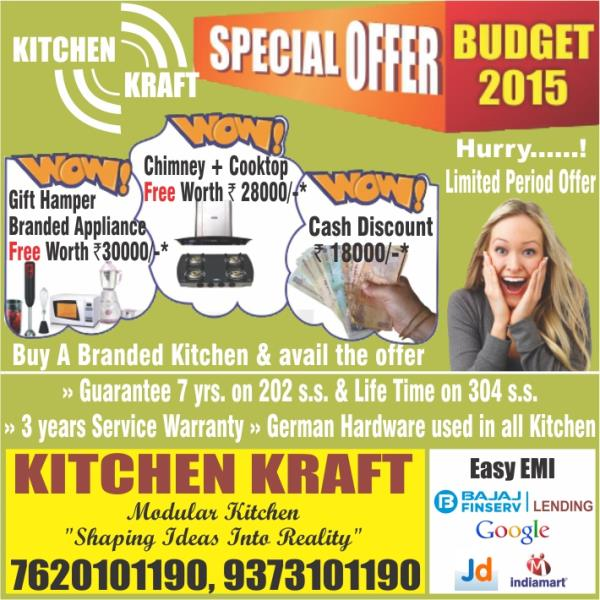 "KITCHEN KRAFT HAS AN ANNUAL OFFER ""BUDGET 2016"" WHERE IN THE CUSTOMERS CAN AVAIL GENUINE OFFERS- LIKE CASH DISCOUNT OR CHIMNEY & HOB OR  GIFT OF SMALL APPLIANCES FOR YOUR KITCHEN.  - by Kitchen Kraft, Nagpur"