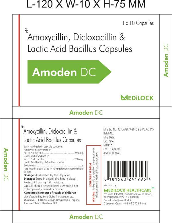 Amoxycillin 250 mg + Dicloxacillin 250 mg + Lactic Acid Bacillus Capsules with mono cartoon and  MRP Rs. 18.00 per strip. - by Medilock Healthcare, Ahmedabad