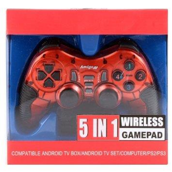 Amigo Wireless 5 in 1 in Chandigarh  Amigo Wireless 5 In 1 Stk 2021pup Gamepad - Red For Pc, Ps2, Ps3, Android Mobile, Android Tv Box - by Chandigarh Electronics, Chandigarh