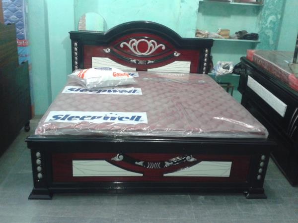 Bed with kurl on mattress with a comfort sleep LxB 6.25x6 - by Home Needs Furniture, Hyderabad