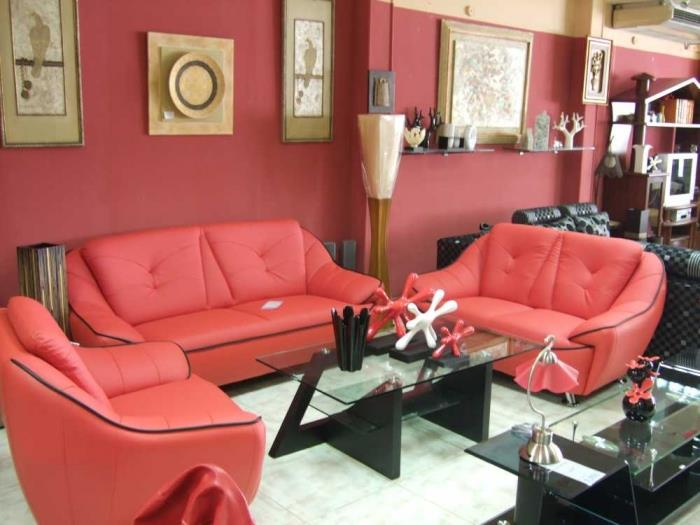 RED REXINE SOFA WITH CUSHION MADE ONLY AT HOME NEEDS FURNITURE.  - by Home Needs Furniture, Hyderabad