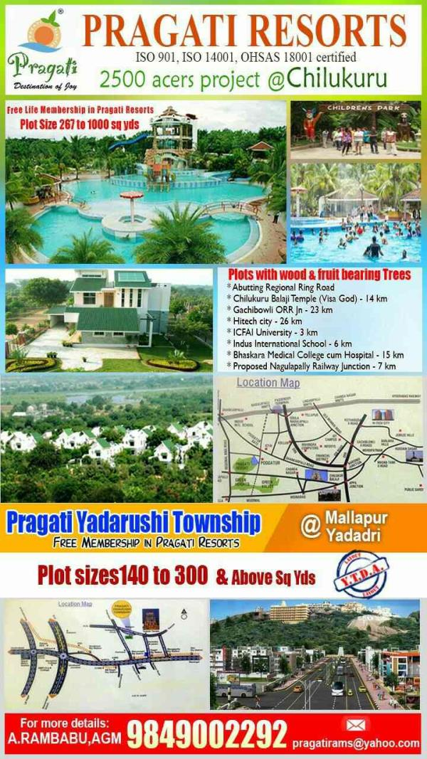 Pragati Resorts coming with a New Venture in Chilkur Balaji Temple with 2500 Acres Project we are best plots selling company in hyderabad , best plots in chilkur balaji temple, plots in chilkur balaji temple, plots in jubilee hills, plots s - by Pragati Resort , Hyderabad