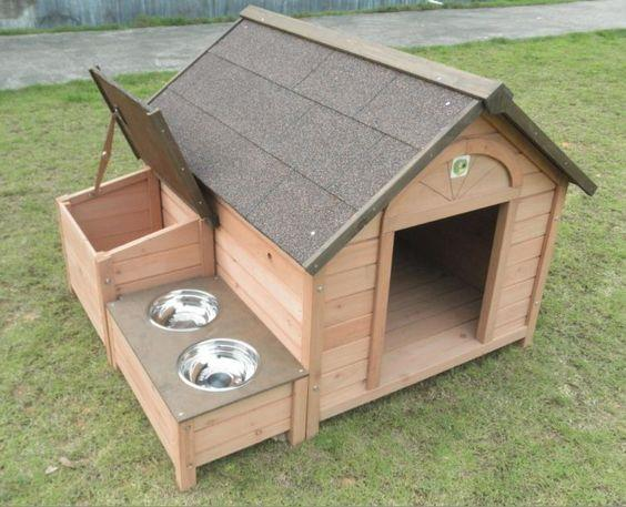Dog house/Kennel Manufacturer:  Wooden Pet Kennel/House :  Made of 12.00 mmx100.00 mm Hard wood wall panel with 50mmx50mm vertical Post.  With Food Storage & Bowel platform .  Pricing @Rs.34000.00 + Tax + Freight . ( Delhi NCR Free Home Del - by Wooden Home Manufacturer Call us  +91 9891300100 / For More Visit Us: www.woodenhomeindia.com, Delhi