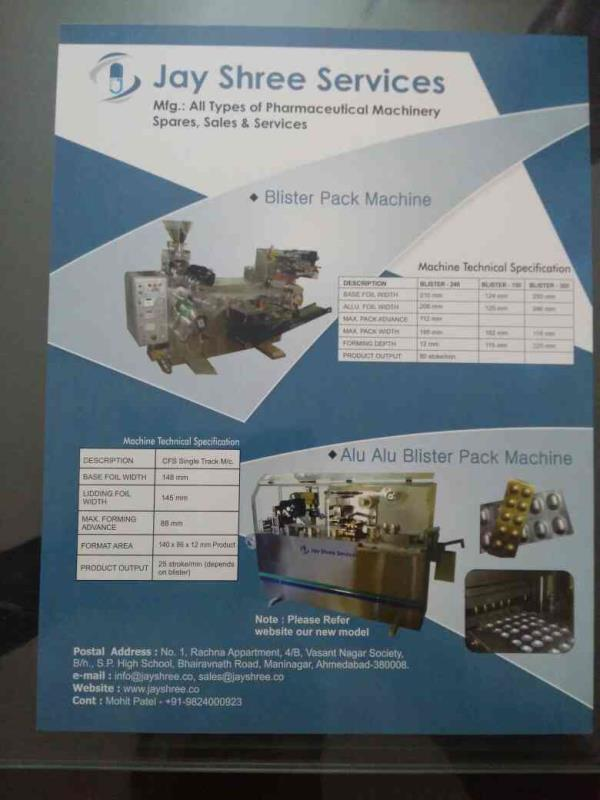 We are leading manufacturer of Pharmaceutical machines, labeling machine, Blisterpack machine, Alu Alu Blister pack machine in Ahmedabad. - by Jay Shree Services, Ahmedabad