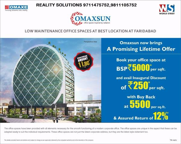 Properties available for sale in Greater Faridabad COIN SHAPE BUILDING IN GREATER FARIDABAD  Omaxe launched office space in Sector 79 Faridabad with assured return 12% till after one year possession @ Rs 5000/- Psf * Booking amount Rs 10000 - by Reality Solutions, Faridabad