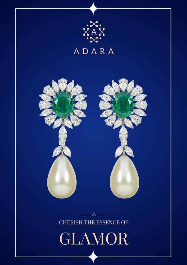 Exquisitely designed fine hand-crafted earring in Sterling Silver, Swarovski Zirconia & Semi-Precious Gem Stone. - by AdaraJewels, Mumbai Suburban