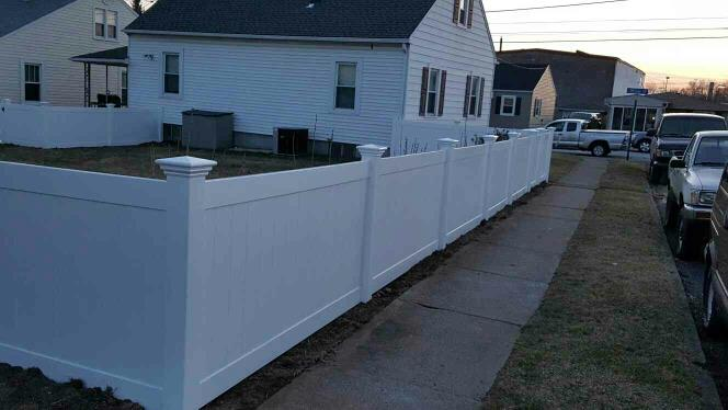 4' High White Privacy Vinyl Fence install by Ekren Fence near Wilson Pa - by EKREN FENCE LLC, Bath