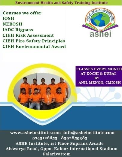Environmental Health and Safety Training Institute - ASHEI Please contact for further information ... 9745126655   8592859385 info@asheinstitute.com www.asheinstitute.com  - by Ashe Institute, Ernakulam