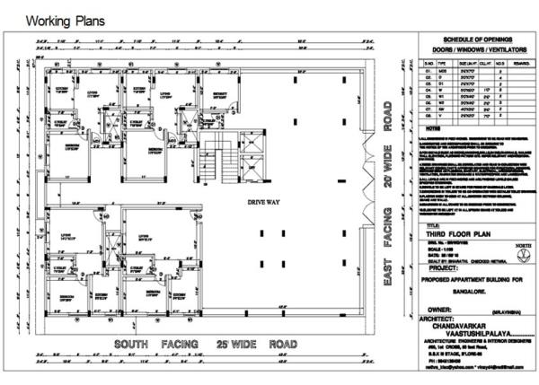 Floor-Plans-Drawing in Bangalore - by CV Architects, Bangalore