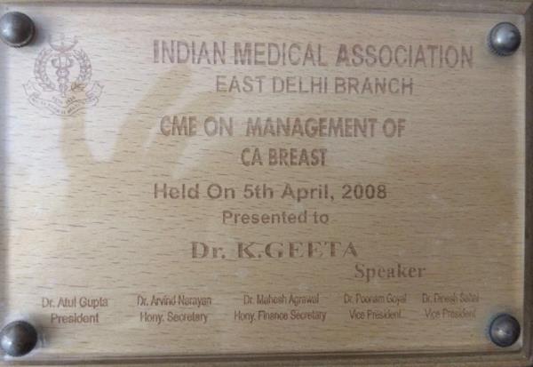 Indian Medical Association, East Delhi branch presented this certificate to Dr. Geeta Kadayaprath as Speaker on 'CME on Management of CA Breast'. - by Dr. Geeta Kadayaprath, Delhi