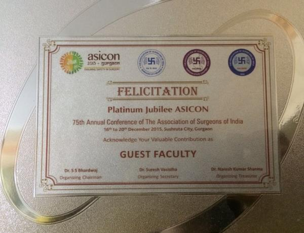 The Association of Surgeons of India (ASICON) acknowledge her valuable contribution as 'Guest Faculty' on their 75th Annual Conference.  Platinum Jubilee ASICON - by Dr. Geeta Kadayaprath, Delhi