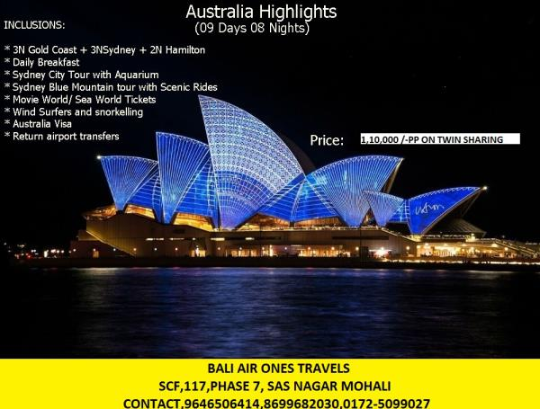 TOUR OF AUSTRALIA 9days and 8 nights 3 nights in gold coast 3 nights in sydney 2 nights in hamilton   - by Bali Airones, Chandigarh