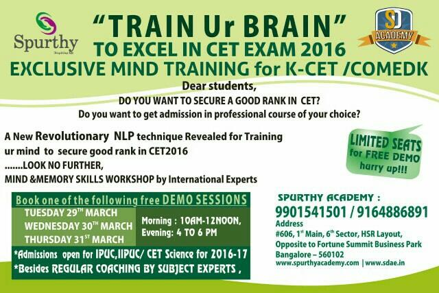 EXCLUSIVE MIND TRAINING FOR CET EXAM 2016.  - by SD ACADEMY OF EXCELLENCE, Bangalore