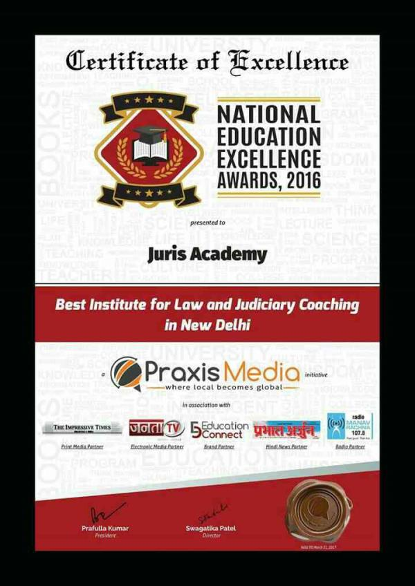 Juris Academy is awarded as best law and Judiciary coaching Academy of Delhi ... - by LAW AND JUDICIARY COACHING, North Delhi