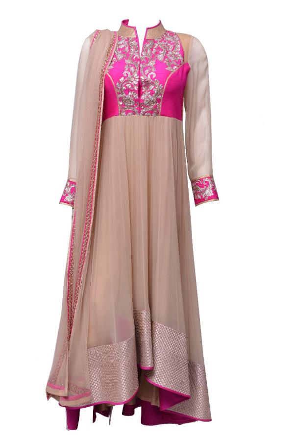 Gold Anarkali Suit with pink yoke and gold work by Prashanti Kumar available now at Rouge Boutique, Rd.No, 10, Banjara Hills, Hyderabad. - by Rouge by Prashanti Kumar, Hyderabad