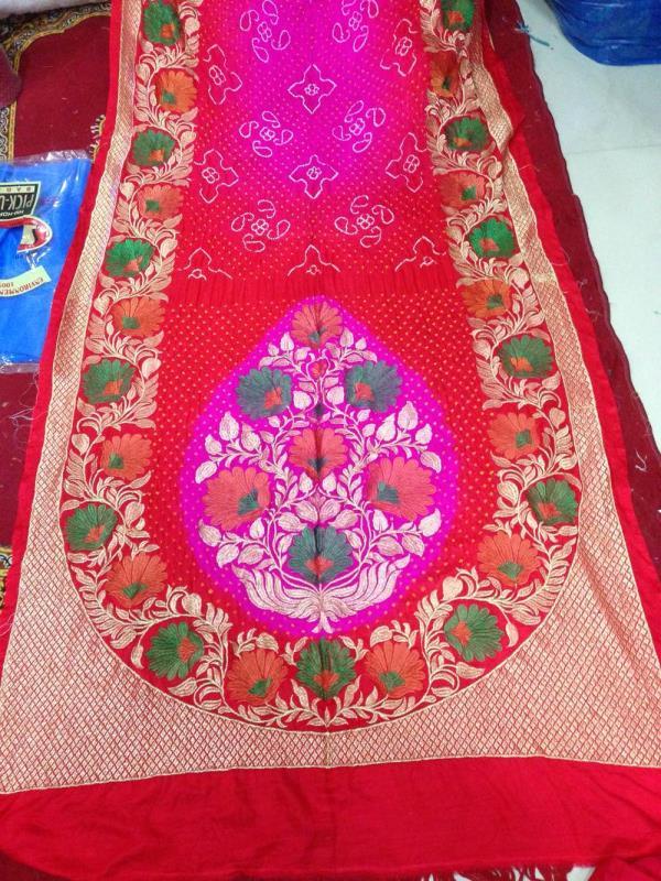 Bandhani gaji silk  saree with computer work  - by Bandhani Point, Kutch