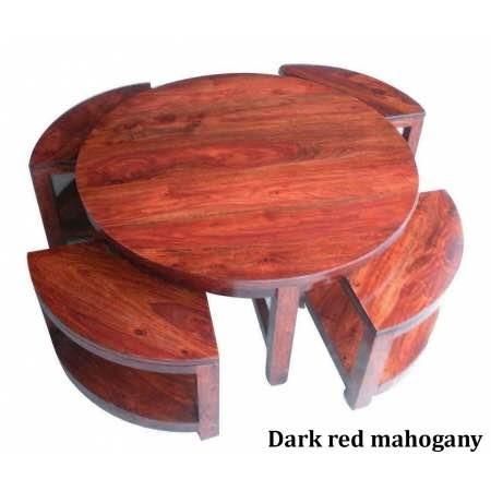 Sheesham wood round coffee table with 4 stools  #jugnufurnitures   For more details  Contact : 8143077770 T& C Apply. - by JUGNU FURNITURE, Hyderabad