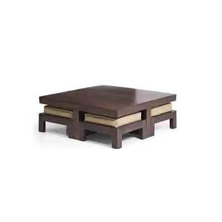 Sheesham wood coffee table with 4 stools   #jugnufurnitures  For more details Contact : 8143077770 T& C Apply.   - by JUGNU FURNITURE, Hyderabad
