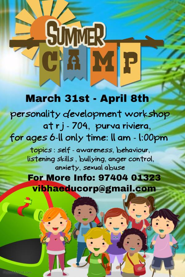 "Summer Camp 2016 On ""Personality Development""  starts on March 31st - by Vibha Education Services Corp, Bangalore"