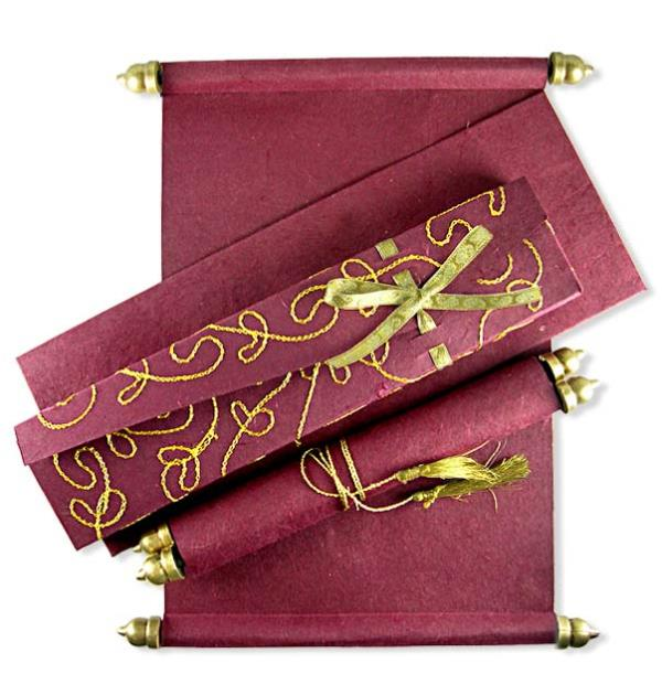 The Scroll Card Is Encased In A Very Attractive Bronze Container With Traditional Engraving Work Done On It. Scroll Wedding Cards in Delhi, Scroll Wedding Invitations in Delhi, Scroll Wedding Invitations, Scroll Wedding Cards in Delhi, Box  - by Colour Box |  Designer Wedding Card Manufacturers, Delhi