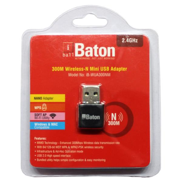 iBall Baton 300M Wireless-N Mini USB Adapter iB-WUA300NM  Only @ 550   retail/ wholesale  also available.  courior also available - by Subh Laxmi Playstation Zone, Delhi