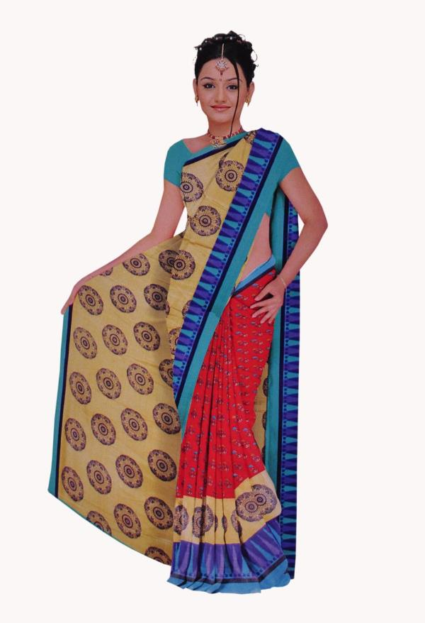 Hand woven and brocade patch border work saree. As shown silk blouse fabric can be made available and   the same can be customized in your style or pattern; subject to fabric limitation, as the fabric is just drape on the model.   Slight co - by Fresh E Kart Solutions Pvt Ltd, Coimbatore