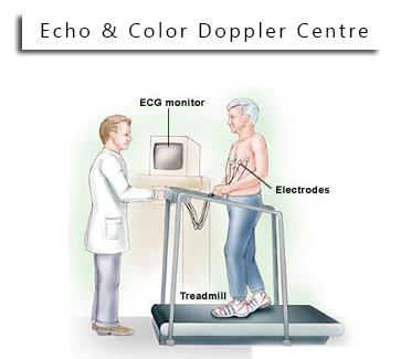 The cardiac stress test is done with heart stimulation, either by exercise on a treadmill, pedalling a stationary exercise bicycle ergometer, or with intravenous pharmacological stimulation, with the patient connected to an electrocardiogra - by Echo & Color Doppler Centre, delhi