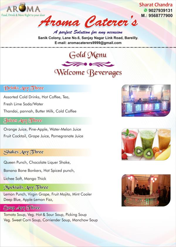 Gold Menu - Welcome Beverages !  - by Aroma Caterers, Bareilly