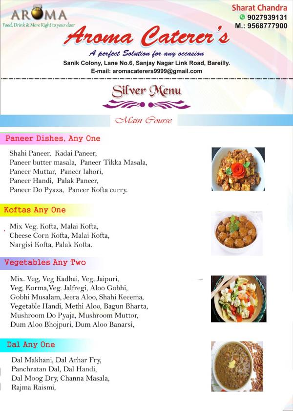 Silver Menu - Main Course  - by Aroma Caterers, Bareilly