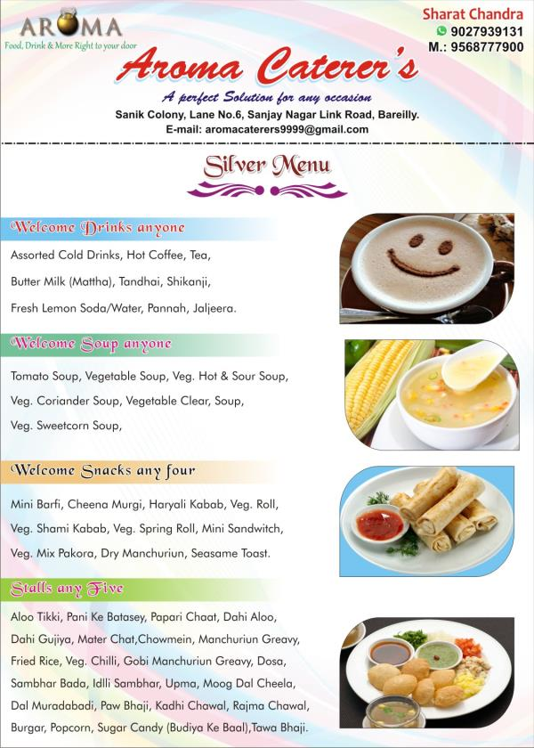 Silver Menu - Welcome Drinks & Snacks  - by Aroma Caterers, Bareilly