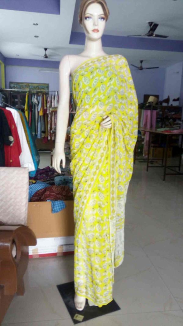 Georgette hand block printed saree in Jaipur - by Its Me, Jaipur
