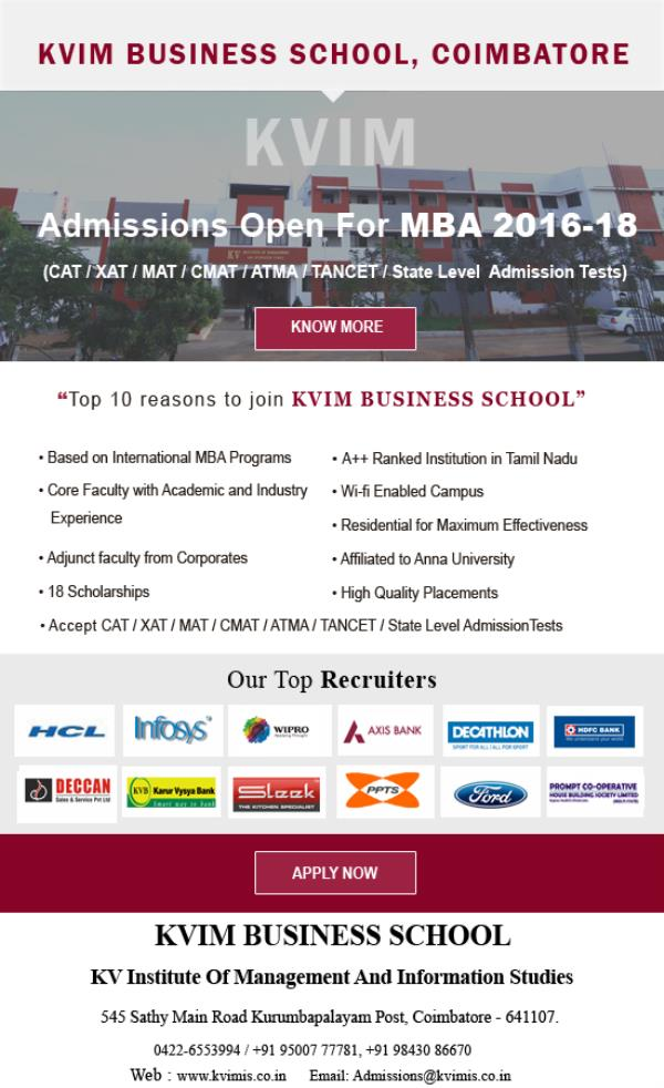 best institution in Coimbatore best MBA college in Tamil Nadu  best business school Nationally Ranked Business School in Coimbatore - by KV Institute of Management, Coimbatore