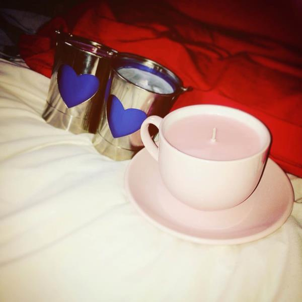 Cup and Saucer, and two Bucket Candles, £7.50 💟 - by Jordie's Scented Soy Creations, Plymouth