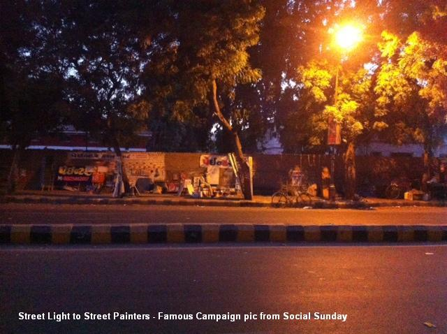 Social Sunday Campaign - Street Light for Street Painters    30 days of fb Campaign which finally brings street light to painters at Ashram Road, Ahmedabad Gujarat  (INDIA)  ssindiaoffice@gmail.com   - by Social Sunday, Ahmedabad