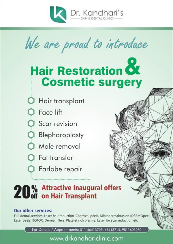 Hair Transplant Surgery in Greater Kailash  Are you suffering from regular hair falling? Getting bald day by day? Don't worry!! Get Hair Transplant now!!  For more info: www.drkandhariclinic.com - by Dr Kandhari's Skin & Dental Clinic, New Delhi