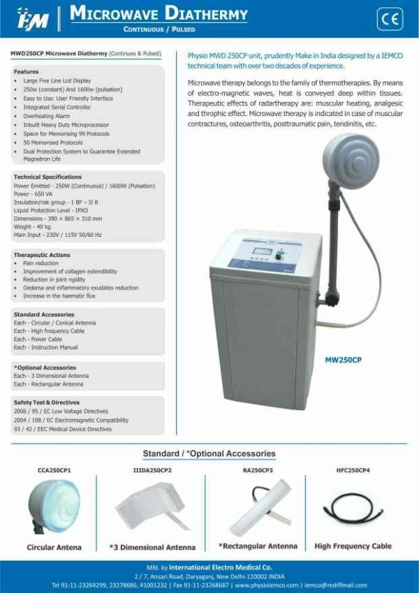 Microwave Diathermy with frequency of 2.45 Ghz, output power 250 watts continuous 1600 watts pulsed mode with large Touch screen Colorado display - by International Electro Medical Co, Delhi