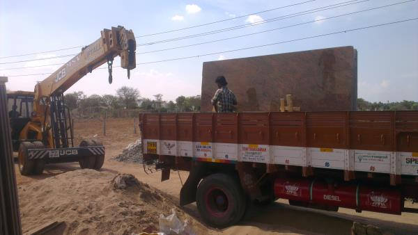 granite stone unloading ... - by MSV Earthmovers And Crane Services, Tirupur