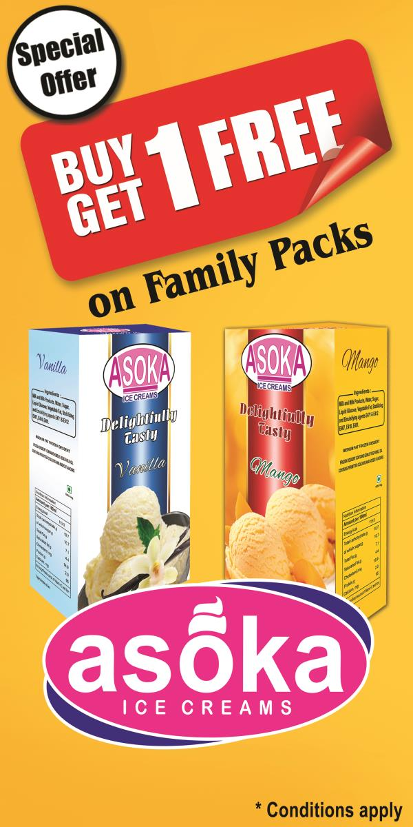 we have what you are waiting for this summer.yes.buy 1 get 1 free offer on family packs.enjoy our range of flavours from natural fruits and nuts. - by Asoka Foods & beverages, Pondicherry