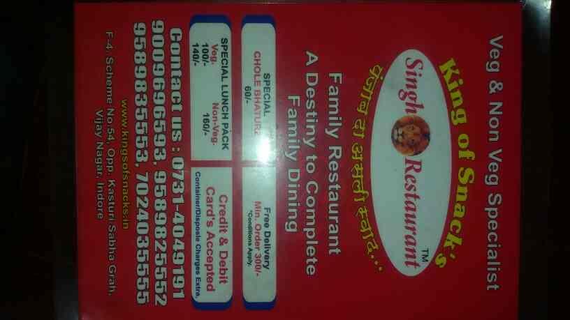 Singh restaurant menu - by King Of Snacks  , Indore