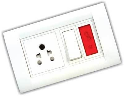 Quality High Voltage Protected 3 Pin Branded Modular Switches and Sockets - by Electrical Stores | Visakhapatnam, Visakhapatnam