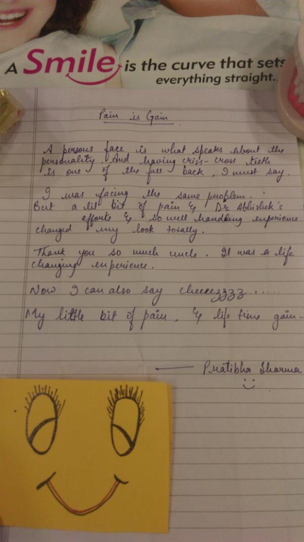 I was so Overwhelmed to see a note and Handmade smiley Card by a sweet patient of Mine.. All the Pain and Effort finally pays off....:) - by Expert Clinics: Complete Dental, Ayurveda & Cosmetic Care, Agra